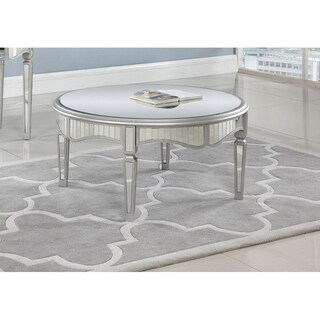 Best Master Furniture Silver Mirrored Round Coffee Table