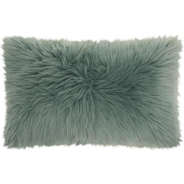 Mina Victory Fur Remen Poly Faux Celadon Throw Pillow 14 Inch X 24