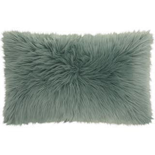 "Mina Victory Fur Remen Poly Faux Fur Celadon Throw Pillow (14"" x 24"")