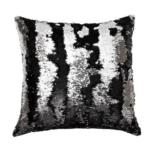 20x20 Melody Mermaid Reversed to Shiny Metallic Faux Linen Pillow