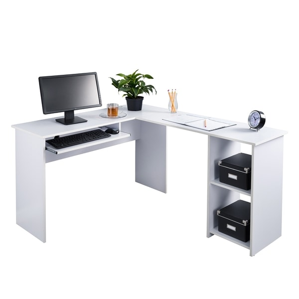 Fineboard L Shaped Office Corner Desk 2 Side Shelves