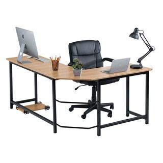 Fineboard L-shaped Office Computer Corner Desk (Option: beige/black)