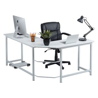 white desk office. Perfect White Fineboard Stylish LShaped Office Computer Corner Desk Elegant U0026 Modern  Design Throughout White