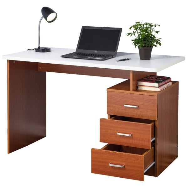 Office desk with drawers Modern Fineboard Home Office Desk With Drawers Overstock Shop Fineboard Home Office Desk With Drawers Free Shipping Today