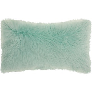 Mina Victory Faux Fur Pastel Seafoam Green Throw Pillow (14-Inch X 24-Inch)