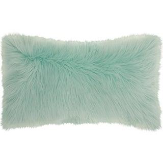 """Mina Victory Fur Remen Poly Faux Fur Seafoam Throw Pillow (14"""" x 24"""")"""
