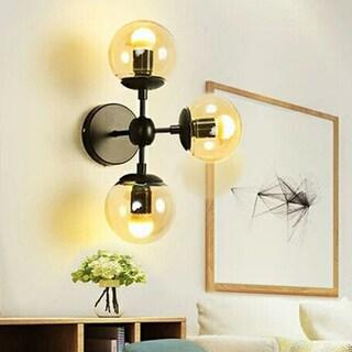 Sadette 3-Light Glass Globe Black Wall Sconce Edison Bulbs Included