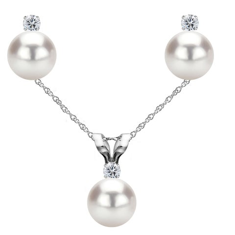 DaVonna 14k Gold White Akoya Pearl and .09 CTTW Diamond Stud Earrings Pendant Necklace Jewelry Set 18""