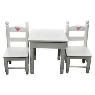 White Wooden Square Kitchen Table & Two Chairs, Funiture Sized For 18 Inch Dolls