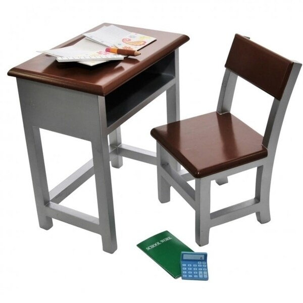 Wooden Modern School Desk & Chair and Storage Shelf Plush School Supply Accessories Sized For 18 Inch American Girl Dolls