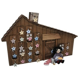"Little House on Prairie American Wooden Advent Calendar+Accessories for 18"" Girl Dolls, Info Cards & Quotes From Laura Ingalls!"