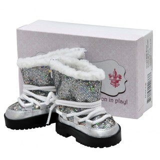 """Fashionable Silver Sparkle Winter Lace Up Boots +Authentic Shoe Box, Clothing Accessories Fits 18"""" Girl Doll Clothes"""