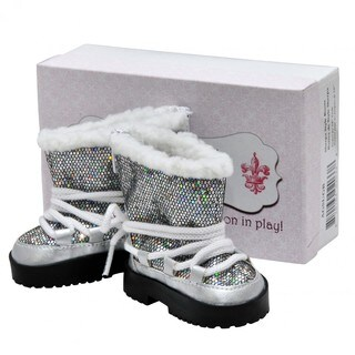 "Fashionable Silver Sparkle Winter Lace Up Boots +Authentic Shoe Box, Clothing Accessories Fits 18"" Girl Doll Clothes"