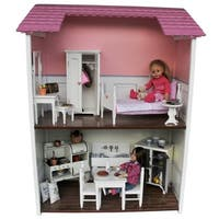 Two Story Wooden Fold & Store Doll Town House For 18 Inch Dolls, Furniture & Accessories
