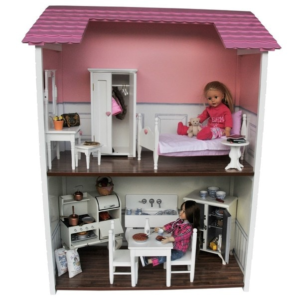 Shop Two Story Wooden Fold Store Doll Town House For 18 Inch Dolls