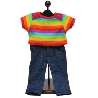 Denim Jeans & Rainbow Shirt Clothing Outfit Fits 18 In Boy or Girl Doll Clothes