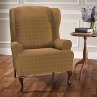 Stretch Sensations Stretch Basketweave Wing Chair Slipcover
