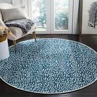 Safavieh Hand-Woven Marbella Blue/ Ivory Polyester Rug (6' Round)