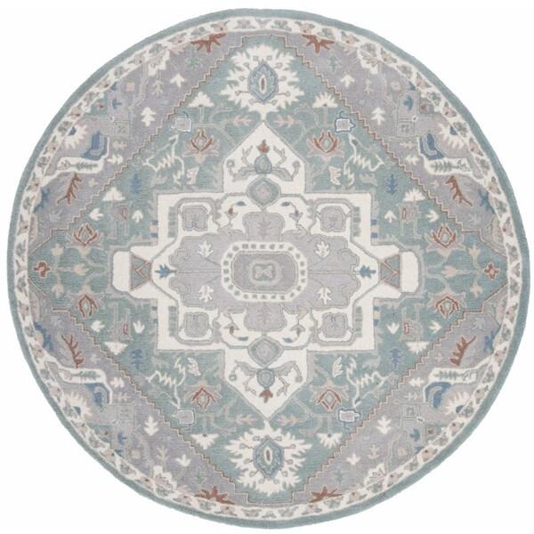 Safavieh Handmade Heritage Blue/ Ivory Wool Rug (6' Round)