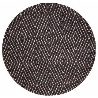 Safavieh Hand-Woven Bohemian Bohemian Black/ Ivory Jute Rug (6' Round)