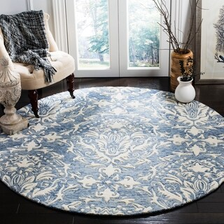 Safavieh Handmade Blossom Blue/ Ivory Wool Rug (6' Round)