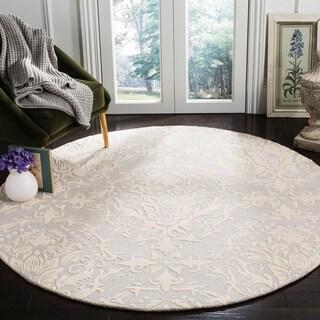 Safavieh Handmade Blossom Light Grey/ Ivory Wool Rug (6' Round)