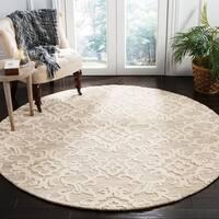 Safavieh Handmade Blossom Grey/ Ivory Wool Rug - 6' Round