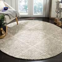 Safavieh Handmade Blossom Ivory/ Grey Wool Rug - 6' X 6' Round