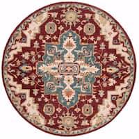 Safavieh Handmade Aspen Red/ Blue Wool Rug - 7' x 7' Round