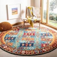 Safavieh Handmade Aspen Bohemian Blue/ Red Wool Rug - 7' x 7' Round