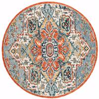 Safavieh Handmade Aspen Blue/ Rust Wool Rug - 7' x 7' Round