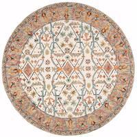 Safavieh Handmade Aspen Ivory/ Blue Wool Rug (7' Round)