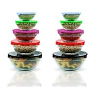 20 Pcs Healthy Glass Food Storage Containers Set With Color Coded Lids