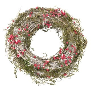 Red Berry Artificial Faux Twig Branch Wreath