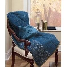Donna Sharp Denim Square Throw (Machine Wash), Blue (Cott...