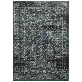 Faded Traditions Navy/ Beige Area Rug (7'10 x 10'10) (As Is Item)