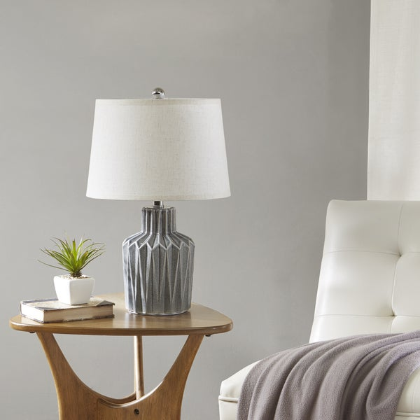 Urban Habitat Dollis Grey Table Lamp with Natural Cone Shaped Shade