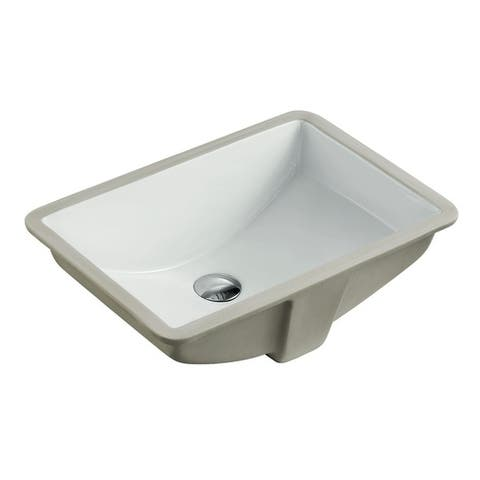 LARGE ARIEL 21.5 Inch Rectrangle Undermount Vitreous Ceramic Lavatory Vanity Bathroom Sink Pure White