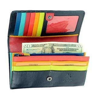 Visconti STR4 Women's Secure RFID Blocking Large Leather Trifold Clutch Wallet Purse - Black Multi