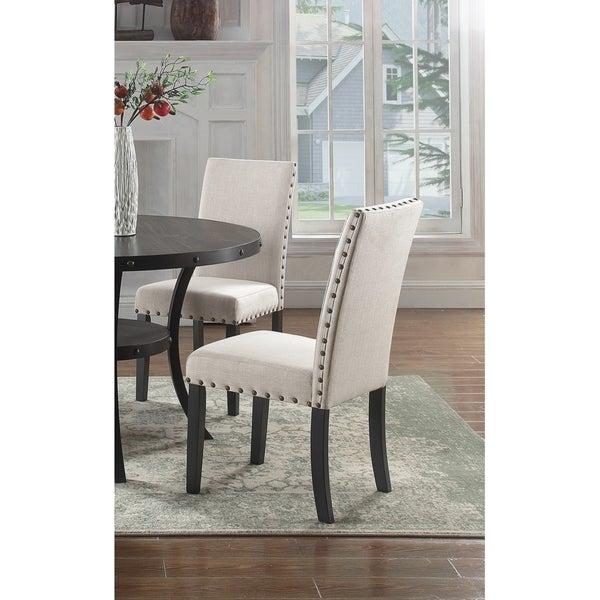 Best Master Furniture Antique Black Wood/Fabric Side Chairs (Set Of 2)