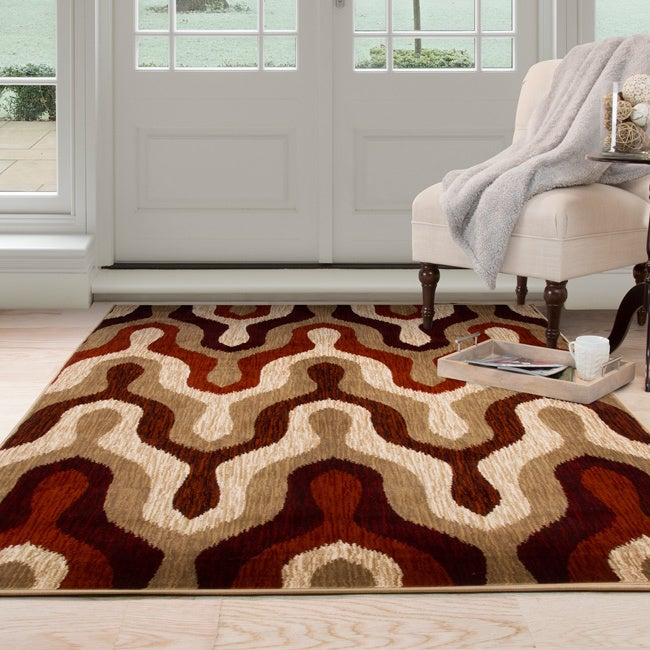Windsor Home Opus Silhouette Red Area Rug (8' x 10') (As ...