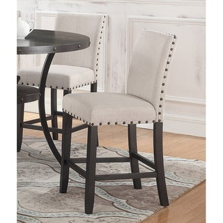 Best Master Furniture Beige/Antique Black Canvas/Wood Counter-height Stools (Set of 2)
