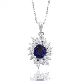 Platinum 3.98ct TGW Blue Sapphire and Diamond One-of-a-Kind Necklace