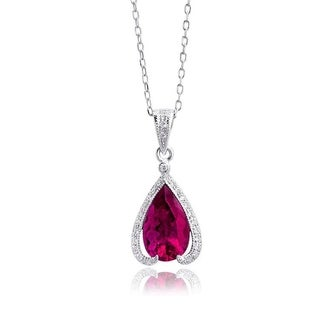 14K White Gold 2.34ct TGW Rubellite and White Diamond One-of-a-Kind Necklace