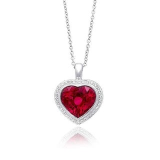 18K White Gold 2.92ct TGW Rubellite and White Diamond Heart One-of-a-Kind Necklace