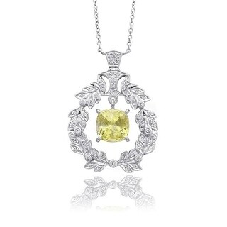 18K White Gold 3.08ct TGW Yellow Saphire and Diamond One-of-a-Kind Necklace