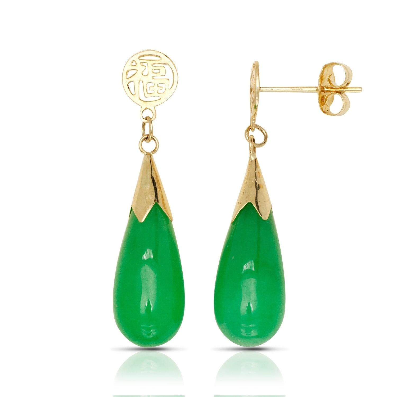 14k Yellow Gold Green Jade Teardrop