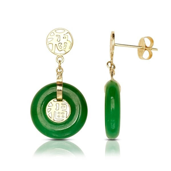 14k Yellow Gold Green Jade Circle Drop Earrings 10mm X 22mm