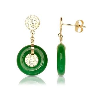 14k Yellow Gold Green Jade Circle Drop Earrings (10mm x 22mm)