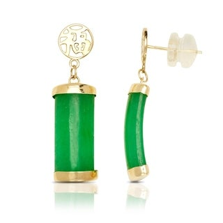 14k Yellow Gold Green Jade Segment Drop Earrings (7mm x 28mm)